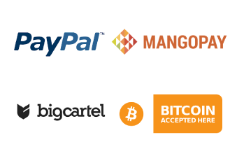 Screenshot of PayPal, MangoPay, Big Cartel and Bitcoin logos