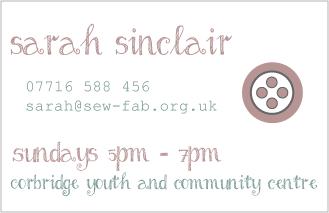 Screenshot of Sew Fab business card back